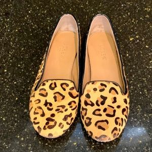 J Crew Cora Leopard Calf Hair Loafers. Size 8.